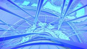 konstruktioner Framtida stadshorisont för begrepp Futuristiskt affärsvisionbegrepp illustration 3d stock illustrationer