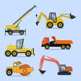 Konstruktions- och vägmaskineri Symboler klistermärkear royaltyfri illustrationer