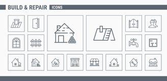Konstruktions- & reparationssymboler - ställ in rengöringsduk & mobil 02 royaltyfri illustrationer