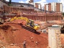 Konstruktionsarbetsplats São Paulo, Fundation Royaltyfria Foton