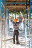 Konstruktionsbegrepp, tekniker och arkitekt som arbetar på konstruktionsplatsen Royaltyfri Fotografi