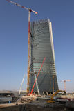 Konstruktionsgård av Hadiden Tover på Citylife; Milan Royaltyfri Bild