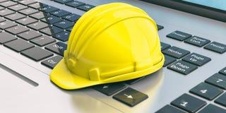 Konstruktionshjälm på en bärbar dator illustration 3d Arkivbild