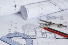 konstruktionshusplan Arkivbilder