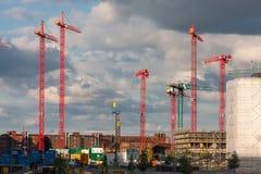 Konstruktionskranar på en konstruktionsplats i Hamburg Royaltyfri Bild