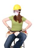 konstruktionskvinna Fotografering för Bildbyråer