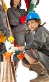 konstruktionskvinnligarbetare Arkivfoton