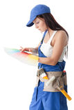 konstruktionskvinnligarbetare Royaltyfria Bilder