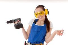 konstruktionskvinnligarbetare Arkivbild
