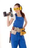 konstruktionskvinnligarbetare Fotografering för Bildbyråer