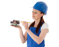 konstruktionskvinnligarbetare Arkivfoto