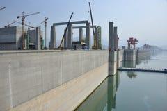 Konstruktionslås Three Gorge Dam Fotografering för Bildbyråer