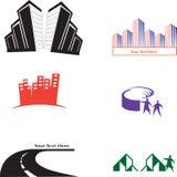 Konstruktionslogo vektor illustrationer