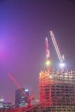 Konstruktionslokal på natten Arkivfoto
