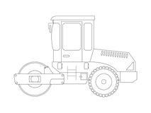 Konstruktionsmaskin Asfaltcompactor Färga sidor för barn Arkivfoton