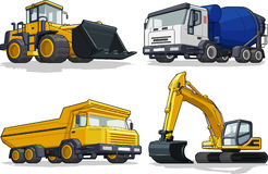Konstruktionsmaskin - bulldozer, cementlastbil, mummel Arkivfoton