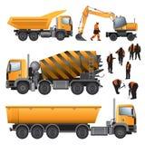 Konstruktionsmaskiner och arbetare royaltyfri illustrationer