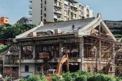 Konstruktionsområde på Kek Lok Si Temple på George Town Panang Malaysia royaltyfria foton