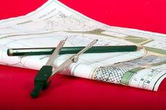 konstruktionsplan Arkivbild