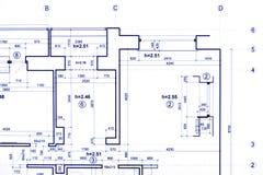 Konstruktionsplan som iscensätter ritningar, del av arkitektoniskt arkivfoton