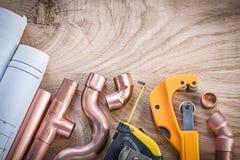 Konstruktionsplan som mäter nolla för kontaktdon för skärare för bandvattenrör Royaltyfria Foton