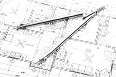 Konstruktionsplanläggningsteckningar Arkivfoton