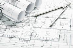 Konstruktionsplanläggningsteckningar Arkivfoto