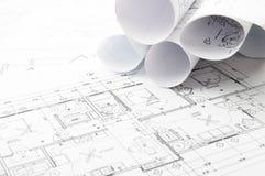 Konstruktionsplanläggningsteckningar Fotografering för Bildbyråer