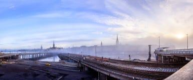 Konstruktionsplats av den nya Slussenen i Stockholm, Sverige Arkivbilder