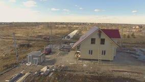 Konstruktionsplats av det nya huset lager videofilmer