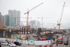 Konstruktionsplats av Hong Kong Express Rail Arkivbild