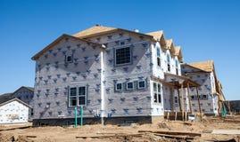 Konstruktionsplats av nya hus Arkivbilder