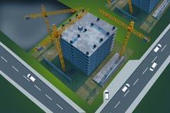 Konstruktionsplats från över Royaltyfria Bilder