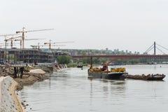 Konstruktionsplats i Belgrade på stranden arkivfoto