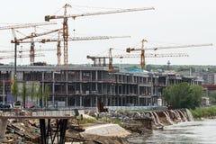 Konstruktionsplats i Belgrade p? stranden royaltyfri fotografi
