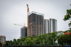 Konstruktionsplats i Yangon arkivbild