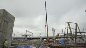 Konstruktionsplats, konstruktion av ett objekt för transportinfrastruktur lager videofilmer