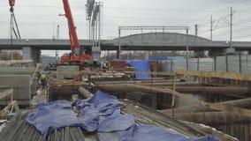 Konstruktionsplats, konstruktion av ett objekt f?r transportinfrastruktur lager videofilmer