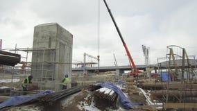 Konstruktionsplats, konstruktion av ett objekt f?r transportinfrastruktur arkivfilmer