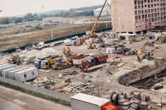 Konstruktionsplats, konstruktionsmaskineri, bulldozer, utgrävning Royaltyfria Bilder