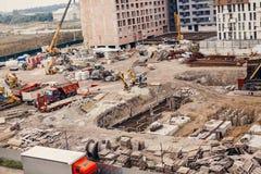 Konstruktionsplats, konstruktionsmaskineri, bulldozer, utgrävning Arkivbilder