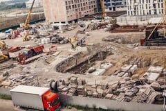 Konstruktionsplats, konstruktionsmaskineri, bulldozer, utgrävning Royaltyfri Fotografi