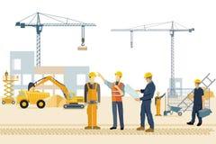 Konstruktionsplats med byggnadsarbetare stock illustrationer