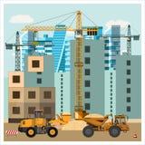 Konstruktionsplats med utrustning stock illustrationer