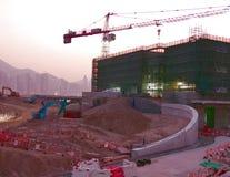 Konstruktionsplats och ny kulturell mitt i det västra Kowloon kulturella området royaltyfria foton