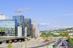 Konstruktionsplats på Bjorvika Oslo Norge Royaltyfri Fotografi