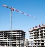 konstruktionsplats på som som bygger höghus Arkivfoton