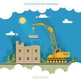 Konstruktionsplats som bygger ett hus Främre lägenhethus plant Arkivfoton
