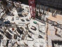 Konstruktionsplats som ses från över Arkivbild