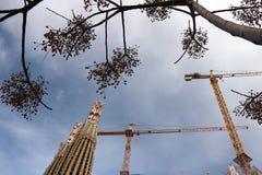 Konstruktionsplatsen av Sagradaen Familia som planl?ggs ursprungligen av Antoni Gaudi royaltyfria bilder